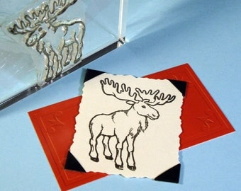 Moose Elk Clear Polymer Rubber Stamp