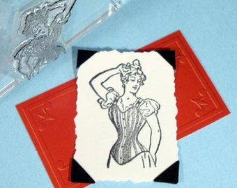 Victorian Lady Corset Clear Polymer Rubber Stamp