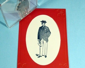 Victorian Gentleman in Summer Clear Polymer Rubber Stamp fan