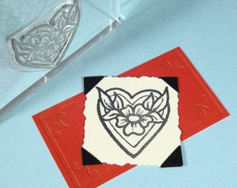 Heart Flower Clear Polymer Rubber Stamp