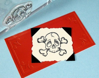 Skull Crossbones Clear Polymer Rubber Stamp