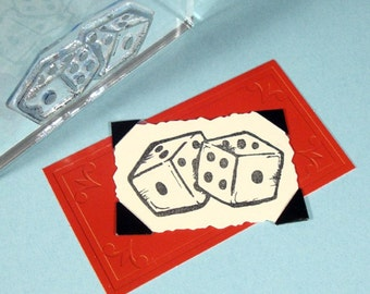 Pair of Dice Clear Polymer Rubber Stamp