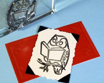 Reading Book Owl Clear Polymer Rubber Stamp