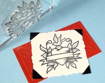 Heart Bird Banner Clear Polymer Rubber Stamp