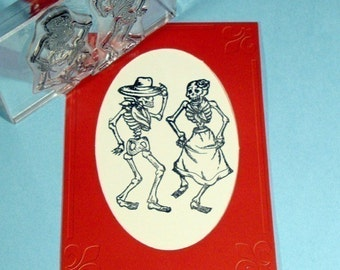 Dancing Skeletons Day of Dead Clear Polymer Rubber Stamp Dia de los Muertos
