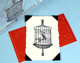 Bird Cage Clear Polymer Rubber Stamp Birdcage