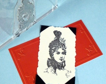 Victorian Lady Portrait Clear Polymer Rubber Stamp