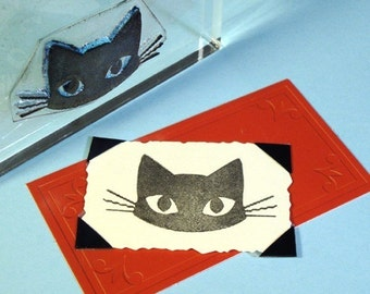 Cat Face Clear Polymer Rubber Stamp