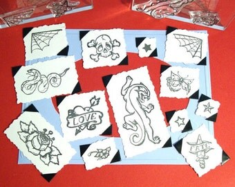 Traditional Tattoo Set Clear Polymer Rubber Stamp skull heart rose web dagger star