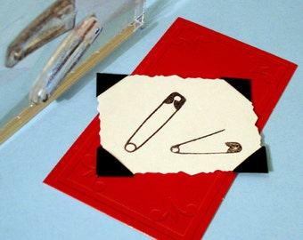 Safety Pins sewing Clear Polymer Rubber Stamp mini-set