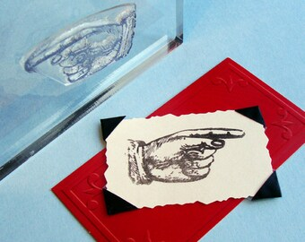 Pointing Finger Clear Polymer Rubber Stamp