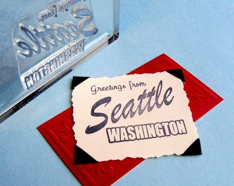 Greetings from Seattle Clear Polymer Rubber Stamp postcard