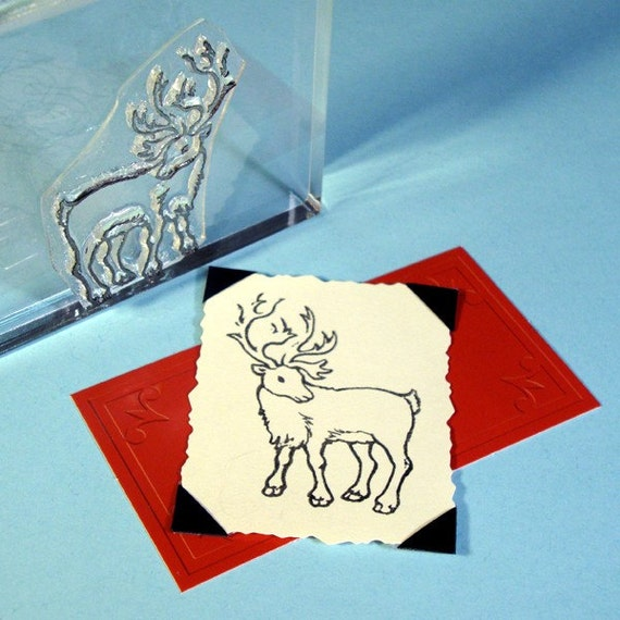 Caribou Reindeer Clear Polymer Rubber Stamp