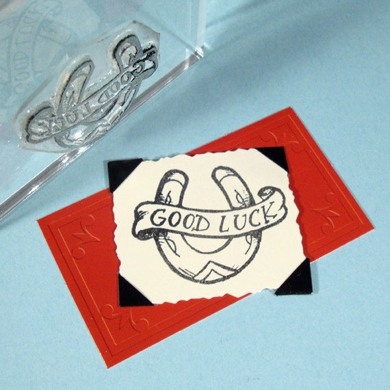 Good Luck Horseshoe Clear Polymer Rubber Stamp