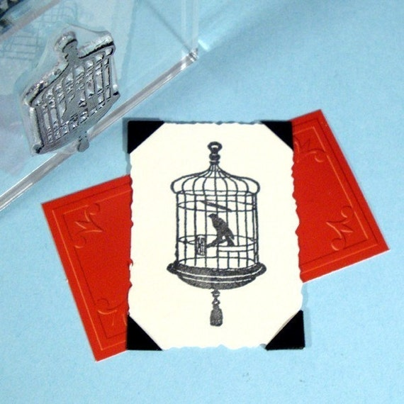 Bird Cage Clear Polymer Rubber Stamp Birdcage