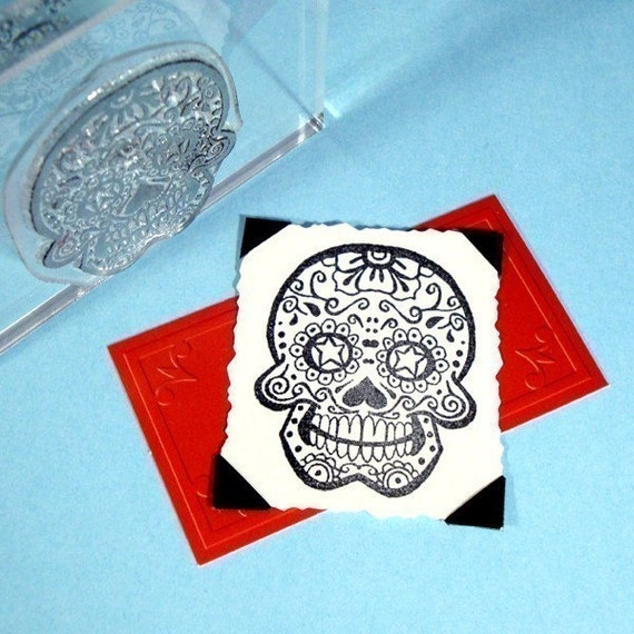 Sugar Skull Day of the Dead Clear Polymer Rubber Stamp