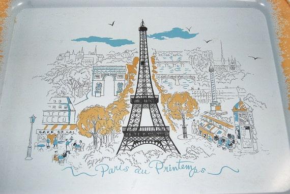 """VINTAGE Midcentury Eiffel Tower Arc de Triomphe """"Paris Au Printemps"""" Metal Tray"""