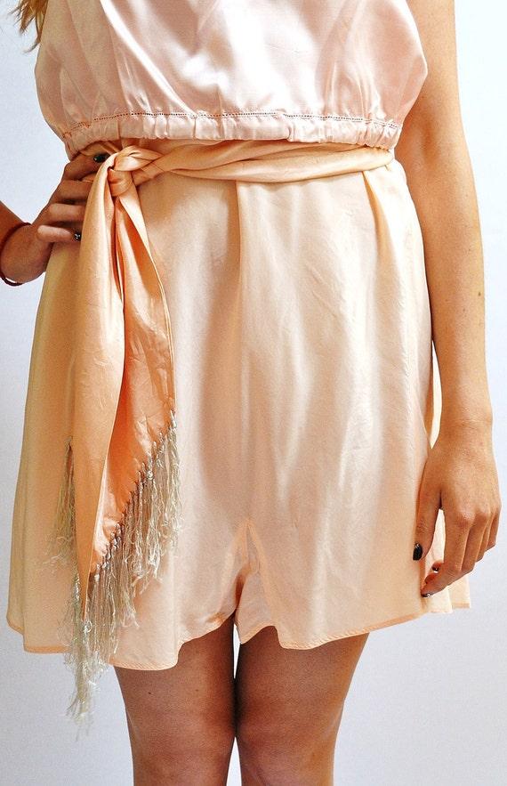 Vintage Pale Peach Silk Tap Pants Barbizon X Large