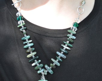 Green Jade & Crystal necklace/earring set