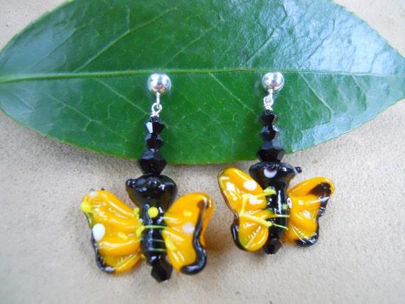 Children's Sterling Glass Yellow Butterfly Earrings