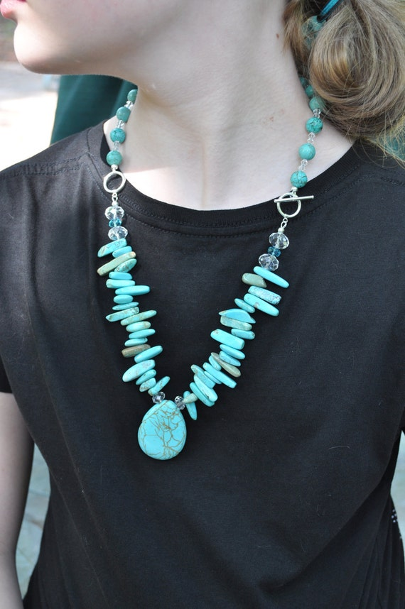 Turquoise & Crystal SS Necklace/Earring Set