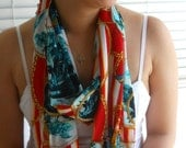Infinity Scarf, Nautical Red and Turquoise