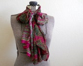 upcycled sari scarf in maroon paisley, extra long
