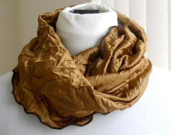 Endless Infinity Scarf, Rust, Crushed Brass Metallic