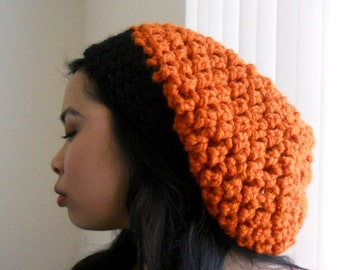 Orange and Black Beanie, Oversized, Chunky Unisex.