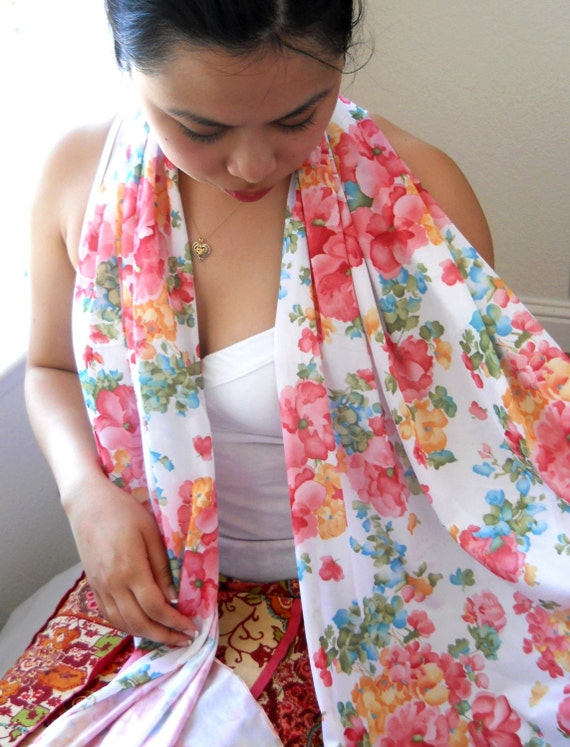 Extra Long Scarf, Spring Floral Print