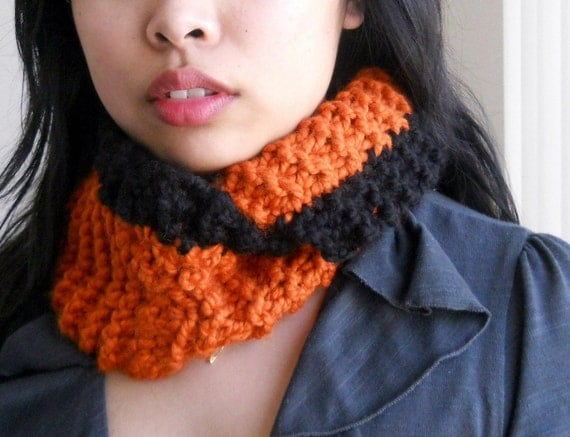 Giants Orange and Black Knitted Infinity Scarf,  Unisex Neck Warmer