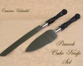 Peacock Wedding Cake knife set with beaded handles
