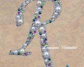 LARGE COLOR Wedding Cake Topper Cake Top Bling Wedding Monogram Pearls and Rhinestones