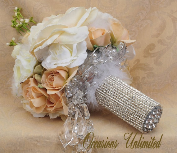 Bridal Bouquet in whites and creams Rhinestone bouquet cuff Groom boutonniere included