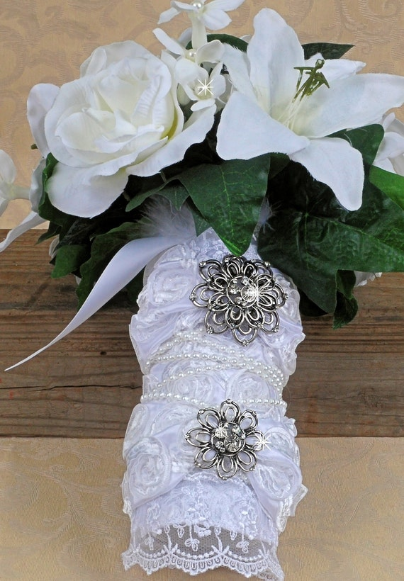 How To Use Bridal Bouquet Holder : Items similar to bridal bouquet cuff pearls and bling