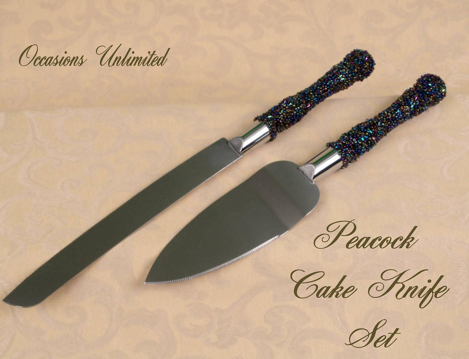 peacock wedding cake knife set with beaded by occasionsunlimited. Black Bedroom Furniture Sets. Home Design Ideas