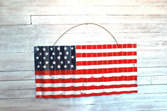 Barn Tin Painted American Flag Stars and stripes