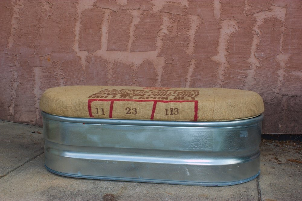 Upcycled Storage Bench Galvanized Farm Stock Tank With Coffee