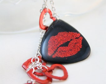 Guitar PIck Necklace Red Glitter Lips and Hearts