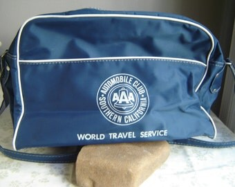 Vintage AAA Automobile Club Southern California Travel Bag w/Shoulder Strap