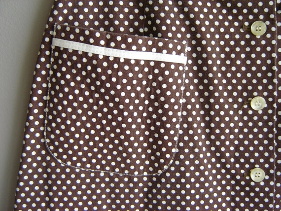 SWEET Polka Dot Vintage Skirt / Skort in Brown and White with Under Shorts