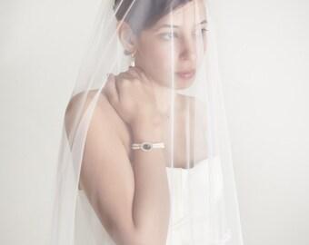 Waves - two layers wedding bridal veil, lace finish, white or ivory [style 007]