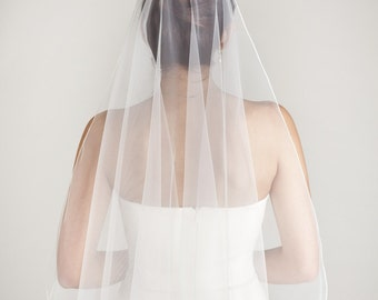 Waterfall - one layer wedding bridal veil with a thin seam edge, white or ivory [style 001]