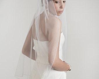 Simple bridal veil with a thin seam edge, soft veil, one layer veil