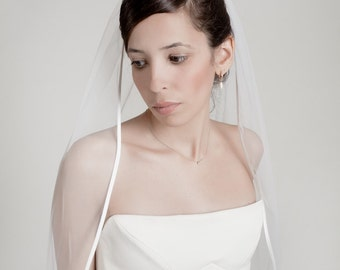 Cocoon- one layer wedding bridal veil with satin finish, ivory or white [style 006]