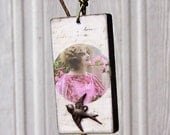 VINTAGE DOMINO TILE Pink Lady and Bird Pendant
