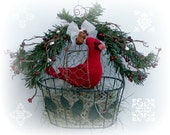 RED CARDINAL in Green Metal Cage Nest, Christmas Decor, On Sale, 40% off