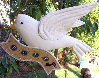 White DOVE of HOPE Needle Sculpted Fabric Bird, On Sale, 40% off