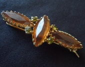 Vintage Brown Hair Barrette with Green Rhinestones