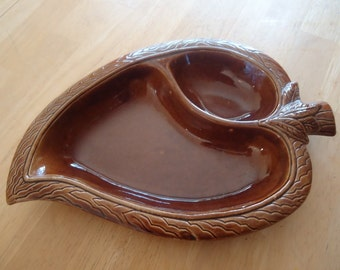 1960s Lane Ceramics Brown Leaf Divided Serving Dish